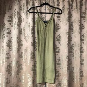 USA made faux suede olive green mini dress